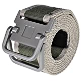 Ayliss® Men's Soft Nylon Canvas Belt Double D-Rings Zinc Alloy Buckle Waistbelt (Army Green Stripe)