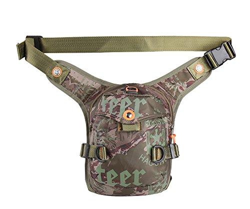 - Genda 2Archer Nylon Tactical Leg Bag Shoulder Messenger Pouch Fanny Pack (Camo Brown)