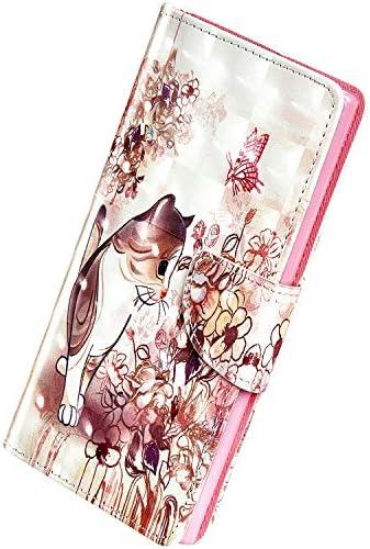 Herbests Kompatibel mit Huawei Honor 7A Hülle Klapphülle Leder Flip Schutzhülle Wallet Handyhülle Bunt Bling Glänzend Glitzer Muster Brieftasche Handytasche Case,Süß Katze