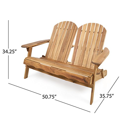 Great Deal Furniture Muriel Outdoor Natural Finish Acacia Wood Adirondack Loveseat by Great Deal Furniture (Image #1)