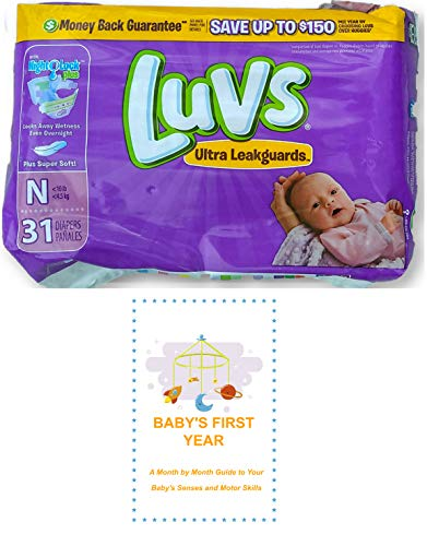 Luvs Newborn Diapers (Size N - Less Than 10 lbs) (31 Count) Bundle with Baby's First Year Informational Guide (Luvs Newborn Pampers)