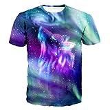 (US) Unisex 3D Printed Shirts Space Galaxy Wolf Print Harajuku Summer Tops T Shirt