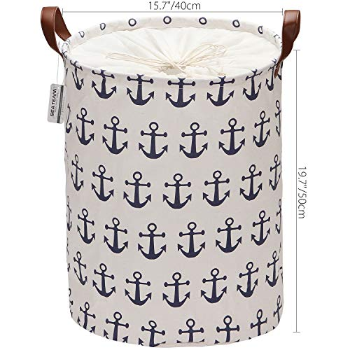Sea Team Large Size Canvas Laundry Hamper Collapsible Storage Basket with Nautical Anchor Pattern, 19.7 by 15.7 inches, Navy Blue