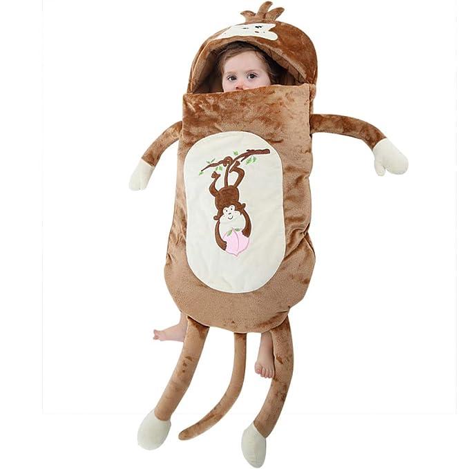 LSERVER Saco de Dormir Cosplay para Bebés Recién Nacidos Disfraz Divertida Pijama de Franela Estilo Animales, Mono, 100 (Altura Recomendada:80 cm): ...