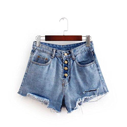 donna Fashion FuweiEncore Jeans da Pantaloncini Buttoned Shorts Summer Size Dechired Mini Retro Panties Blu Big qqAEPxF