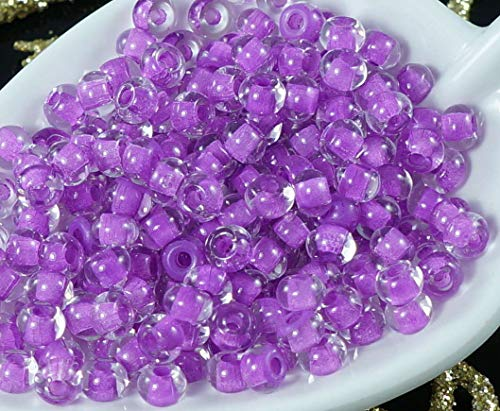 10g Crystal Purple Lined 5/0 Czech Glass Round Large Seed Beads 5mm Approximately ()