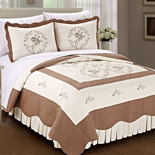 Home Soft Things Serenta Classic Embroidery Prewashed Roses Microfiber Cotton Filled Bedspread Quilt Blanket 3 Piece Bed Set, King, Taupe by Home Soft Things