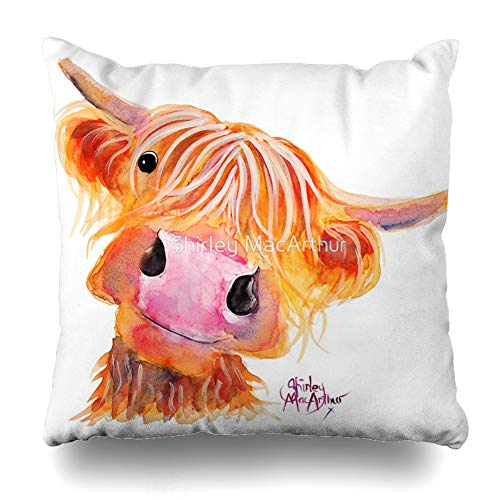 Ahawoso Throw Pillow Cover Square 20x20 Inches Highland Cow Nessie from Original by Shirley MacArthur Decorative Pillow Case Home Decor Pillowcase
