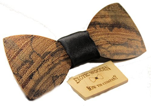 Solid Marble Wood Bow Tie Black Fabric Center (Black Satin)