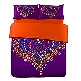 Auvoau Heart-shaped Flowers Pattern Purple Orange Cotton Duvet Cover Bedding Sets (5pc with comforter)