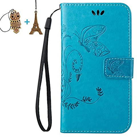 LG Ultimate 2 L41C / Optimus L70 Case, Mr.Dakai [Blue] Slim Fit Magnetic Closure PU Leather Flower Butterfly Embossed Wallet Case Folio Flip Stand Case with Strap for LG Ultimate 2 L41C / Optimus (Lg L41c Phone Case Wallet)