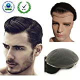 Human Hair Toupee for Men, N.L.W. European Human Hair Pieces for Men with 10'' x 8'' Super Thin French Lace,#1B Off Black