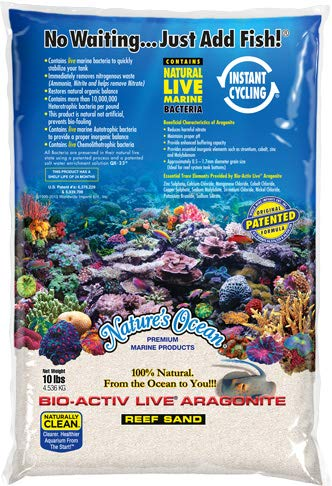 Nature's Ocean Aquarium Sand 20lb BIO-ACTIV Live Aragonite 20LB Natural White Reef Sand #1 by Nature's Ocean