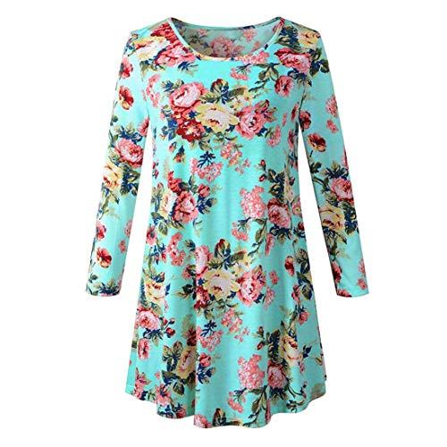 T T D't Shirt Lache Manches Blouse Femme Shirt Vert Innerternet Shirt T Imprim Longues Floral RwHnnYP1q