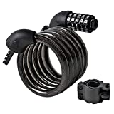 MYQUEEN Bike Lock Cable, 6 Feet Combination Bike Lock with Mounting Bracket, Resettable