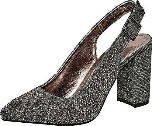 Cambridge Select Women's Pointed Toe Glitter Crystal Rhinestone Slingback Block Heel Pump,10 B(M) US,Pewter