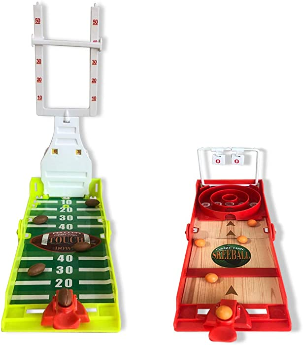 Gamie Football and Skee-Ball Desktop Games, Set of 2, Mini Table Top Sports Games with Foldable Design, Indoor Finger Board Games for Kids, Office Desk Toys for Adults, Sports Party Favors