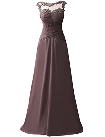 JAEDEN Long Evening Dresses Chiffon Ruched Prom Party Gown Open Back Brown US 2