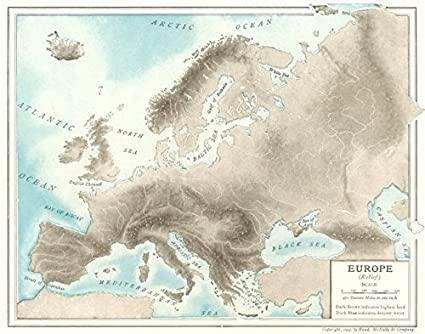 Amazon.com: EUROPE PHYSICAL rivers mountains - 1907 - old ...
