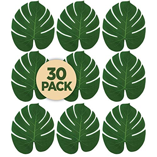 Prextex 30 Artificial Palm Leaves for Party Table Decoration, Imitation Tropical Leaf Placemats Table Runners or Greenery Décor for Events, Beach Theme or Jungle Party Supply (Large, 13.8 x 11.4 Inch)