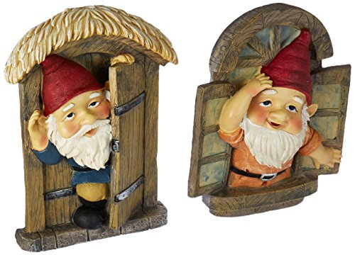 Garden Gnome Statue - Knothole Welcome Gnomes - Gnome Tree  Door & Window Set - Fairy Garden - Gnome (Gnome Door)