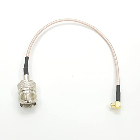hindustry RF Cable coaxial UHF hembra SO239 a MCX macho ángulo recto conector para antena RG316
