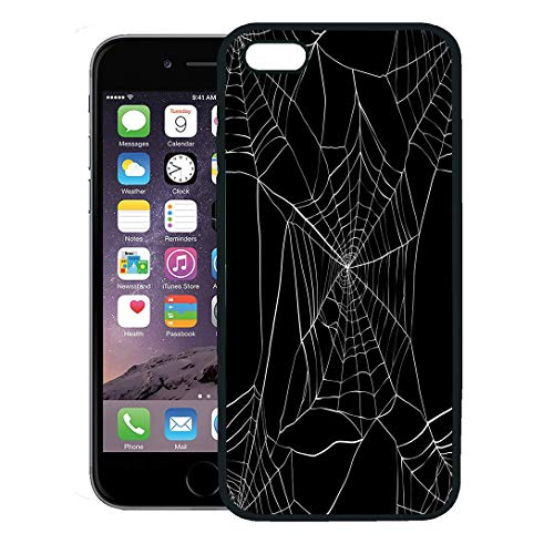 Semtomn Phone Case for iPhone 8 Plus case,Spiderweb Spider Made Clipping Mask Pattern White Net Gothic Animals iPhone 7 Plus case Cover,Black -