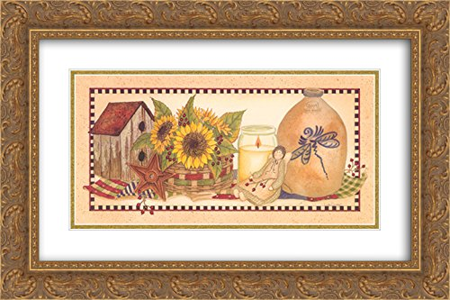 Sunflowers Aglow 2X Matted 24x14 Gold Ornate Framed Art Print by Linda Spivey
