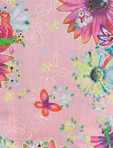 ridgette V-Neck Embroidered Floral Print Scrub Top Large Print ()