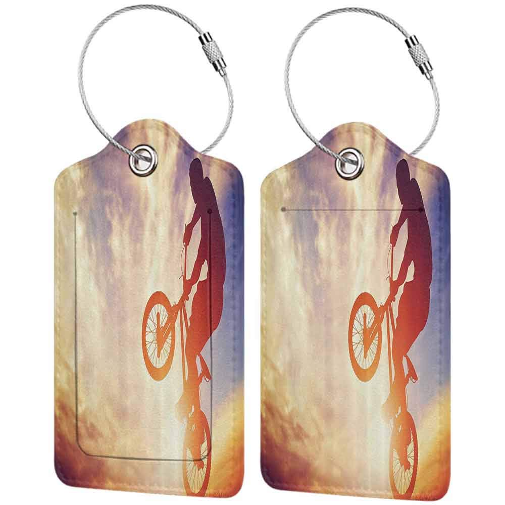 Small luggage tag Modern Dynamic Man on the Bike Performing Silhouette under Hazy Sun Lights Hobby Image Quickly find the suitcase Multicolor W2.7 x L4.6