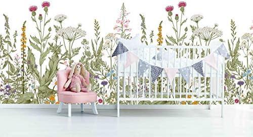 Fleefilo はがせる壁紙 壁紙シール 庭の花 柄 大きいサイズ 壁 シール リメイクシート DIY FL0922-3 (FL0922-3, 360cm x 260cm)