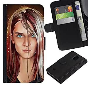 Billetera de Cuero Caso Titular de la tarjeta Carcasa Funda para Samsung Galaxy S5 Mini, SM-G800, NOT S5 REGULAR! / Portrait Art Blonde Blue Eyes Girl Woman / STRONG