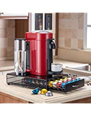 Flagship Coffee Pod Holder Stand Revolving Capsules Storage Rack for Nespresso Vertuoline (40 Pods Iron Drawer)