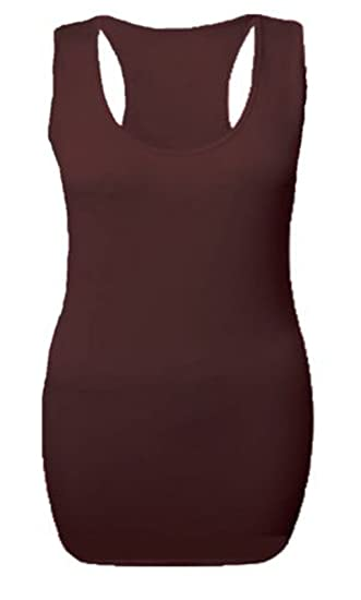LADIES LONG RACER BACK BODYCON TOP WOMENS MUSCLE VEST GYM MAXI TOP SIZES 8-26