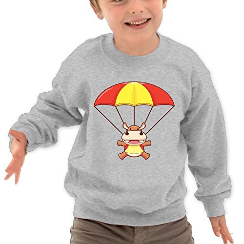 Price comparison product image Puppylol Hippopotamus And Parachute Kids Classic Crew-neck Pullover Hoodie Ash 4 Toddler