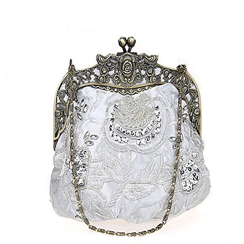 Clutch Beaded ANDAY Silvery Women's Cameo Sequins Purple Flower Chain Vintage Handbag TT86Wn1