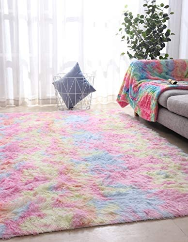 Fluffy Colorful Shag Area Rug Rainbow Plush Carpet