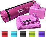 "Fit Spirit Pink Yoga Starter Set Kit - Includes 0.5"" Inch NBR Mat, Yoga Block, Yoga Towels & Yoga Strap"