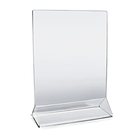 "Acrylic Sign Holder 5"" x 7"" Plastic Menu Frame / Tabletop Display / Clear  Durable - Scratch Resistant (5x7, 4-Pack)"