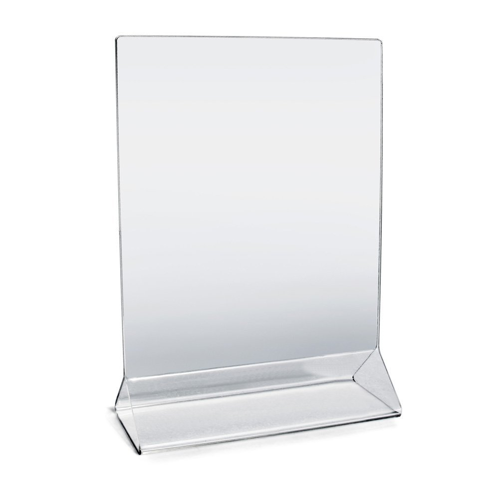 "Acrylic Sign Holder 5"" x 7"" Plastic Menu Frame / Tabletop Display / Clear Durable - Scratch Resistant (5x7, 2-Pack)"