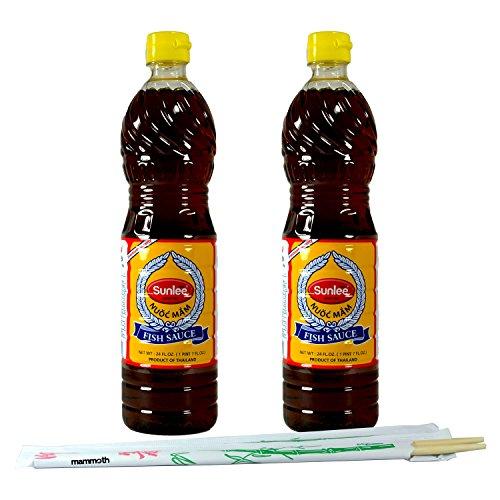 24oz Sunlee Fish Sauce (Thailand) with Mammoth Chopsticks (2-Pack)