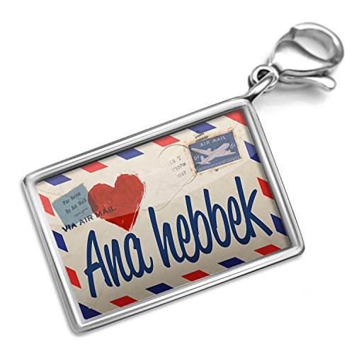 Neonblond I Love You Arabic Love Letter from Saudi Arabia - Charm Lobster Clasp clip (Beads With Arabic Letters)