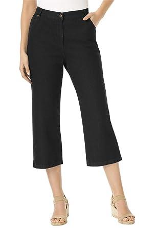 Women's Plus Size Capri Side Elastic 100 Cotton Jean at Amazon ...