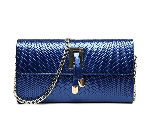 Female States Cowhide Bag Blue Bag Hand Oblique Bag The United Black Large Hand Hand Shoulder Backpack Evening Sapphire and Color Chain Europe Bag Fashion Capacity Tide 0Td1x0