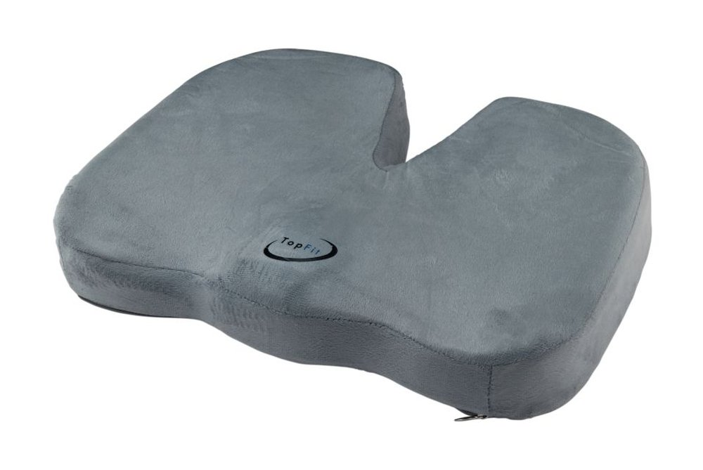 TopFit Coccyx Orthopedic Comfort Foam Seat Cushion for Lower Back, Tailbone and Sciatica Pain Relief Gray