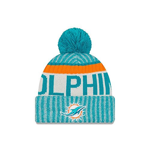 Men's New Era Men's Dolphins New Era 2017 Sideline Official Sport Knit Hat Aqua Size One Size