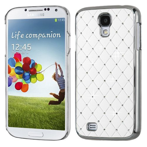 MyBat Samsung Galaxy S 4 Luxurious Lattice Elite Dazzling Back Cover with Diamonds - Retail Packaging - Ivory White Silver (Plating Executive Cover)