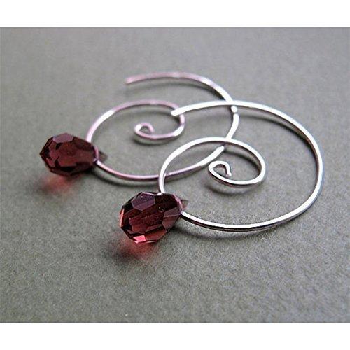 Crystal Earrings - Sterling Silver Swirl Hoops with Purple Teardrop Sworavski Crystals - Spiral Hoop Earrings