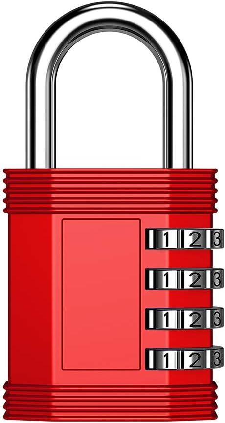 ZHEGE Cadenas dext/érieur argent garage cadenas /à combinaison /à 4 chiffres pour gymnase et /école portail Verrouillage r/éarmable et r/ésistant aux intemp/éries pour cabanon