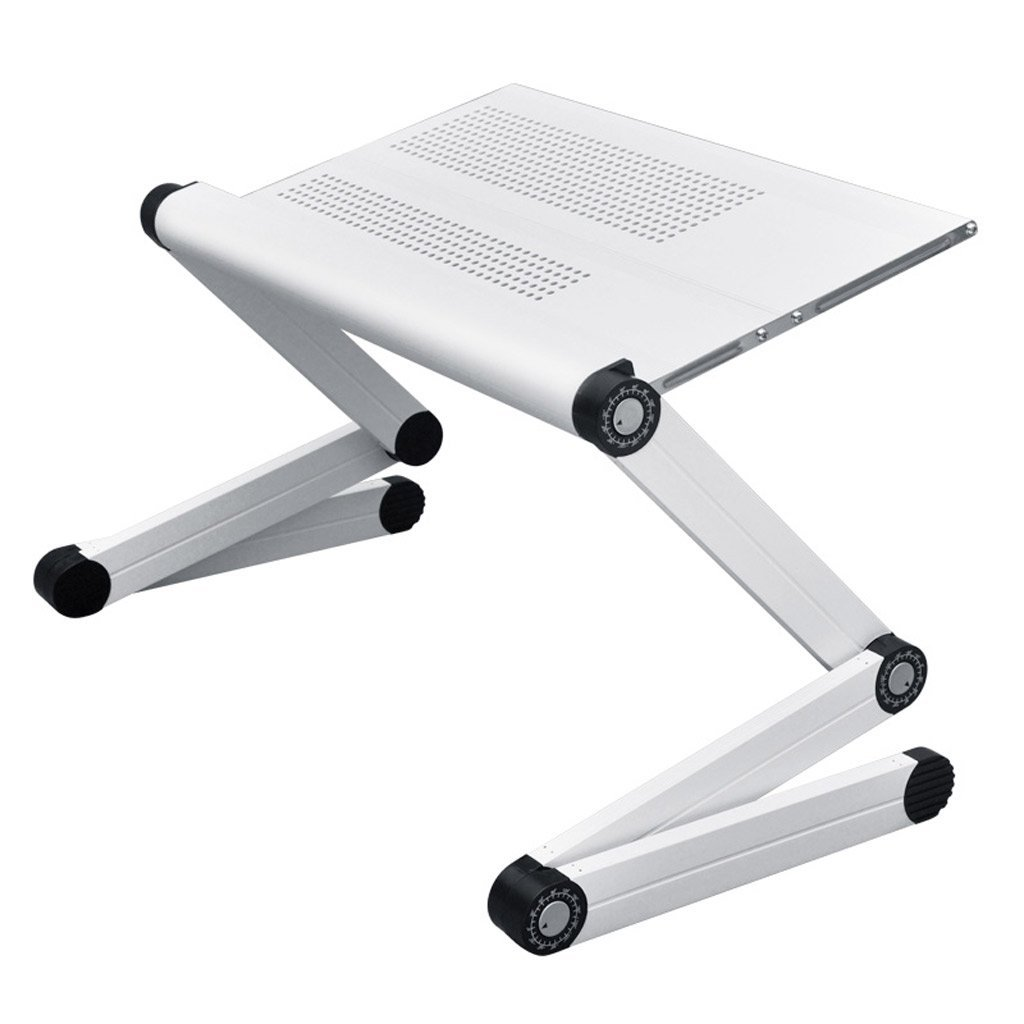 GAOYANG Laptop Table Stand Adjustable Riser: Portable With Mouse Pad Fully Ergonomic Mount Ultrabook Notebook Light Weight Aluminum Black Bed Tray Desk Book Fans Up (Color : White, Size : A)